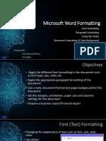Lesson 3 -MS Word Formatting