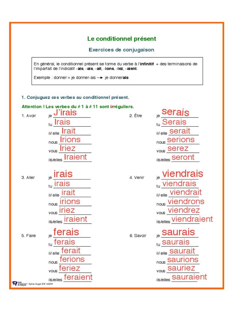 Conjuguer Le Verbe Savoir Au Conditionnel Present