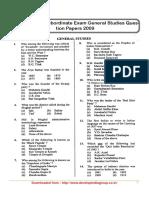 UPPCS  Combined Lower Subordinate Exam General Studies Question Papers 2009 General Studies.pdf