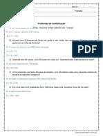 Problemas de Matematica Multiplicacao 3º Ou 4º Ano Respostas