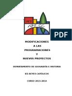 2013-14. Programacion Dpto. Ga e Historia. Modificaciones