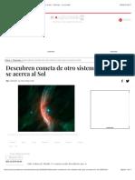 Descubren Cometa de Otro Sistema Solar Que Se Acerca Al Sol - Ciencias - La Jornada
