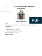 Presentar cuatro informes sobre los laboratorios físico químico y microbiológico..docx