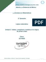 Unidad 3. Validez, Completud y Modelos en La Logica de Primer Orden