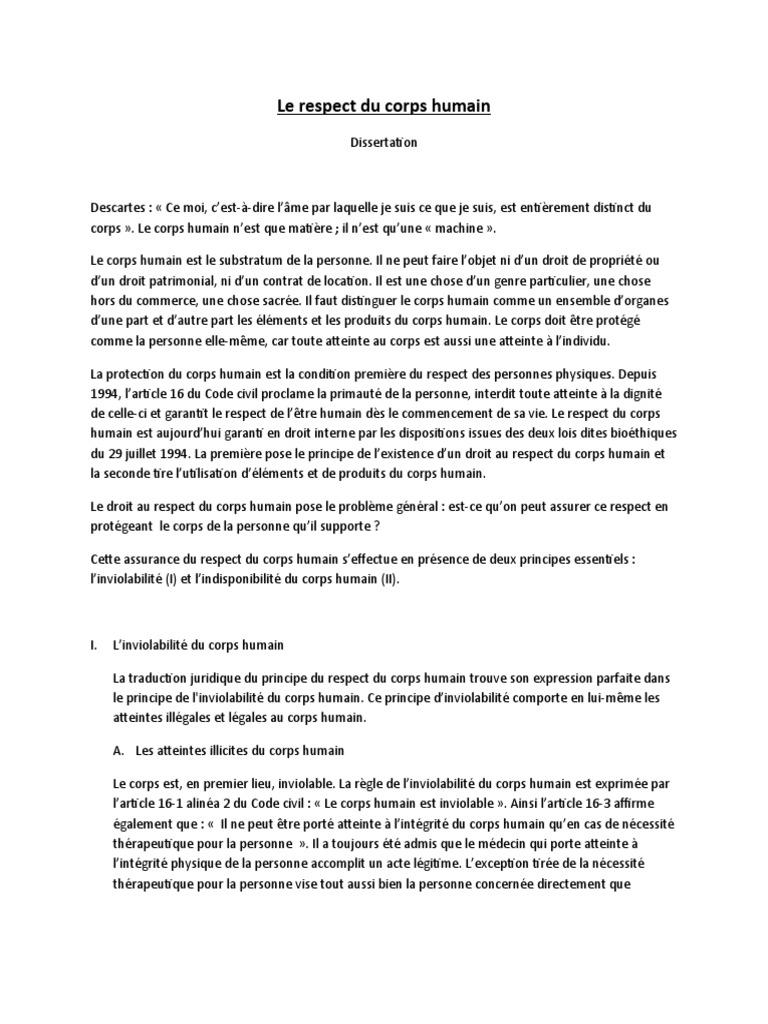 Dissertation sur le respect du matriel
