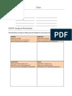 SWOT Analysis  Group Activity Worksheet