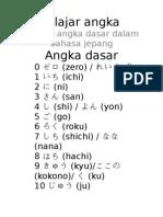 Belajar angkadalam bahasa jepang