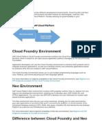 SAP Cloud Platform Neo vs Foundry