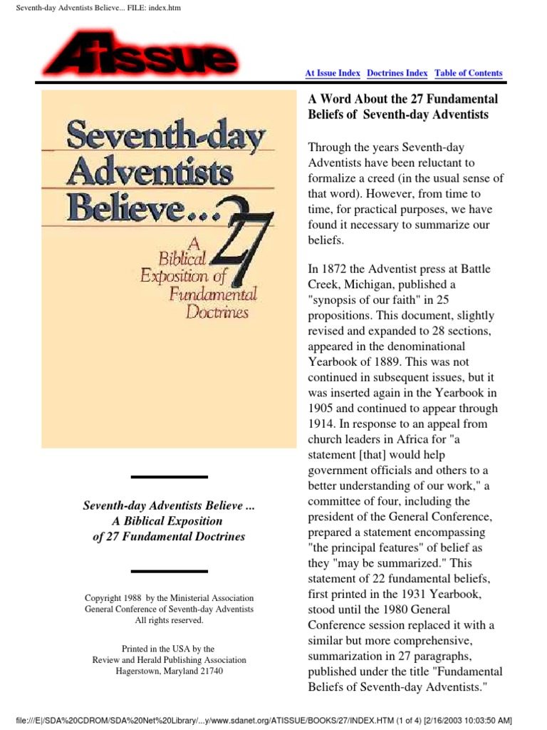 A Word About The 27 Fundamental Beliefs Of Seventh Day Adventists Revelation Holy Spirit