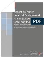 Report on water policy of pakistan