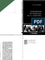 Fundamentos de Sociología de La Literatura. Juan Ignacio Ferreras