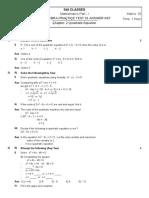 Algebra 01 Test Answer Key