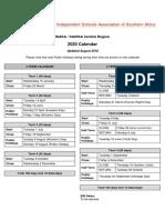 ISASA and SAHISA Central Region Calendar 2020