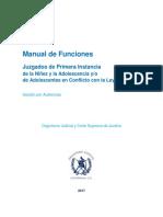 Manual de Funciones Juzgado de Primera Instancia de La Niñez y de La Adolescencia y Adolescentes en Conflicto Con La Ley Penal