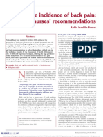 Reducing the Incidence of Back Pain Student Nurses' Recommendations