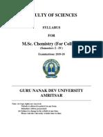 Msc Chemistry (for Colleges) Semester I-IV 2019-20