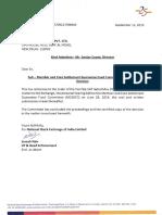 Exchange Letter Dated September 12, 2019