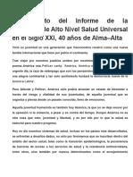 Lanzamiento Del Informe de La Comisión de Alto Nivel Salud Universal en El Siglo XXI