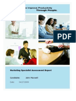 Sample Marketing Specialist Report