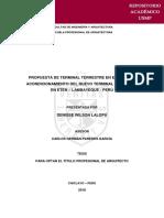 PROPUESTA DE TERMINAL TERRESTRE EN EL ÁREA DE ACONDICIONAMIENTO DEL NUEVO TERMINAL PORTUARIO EN ETEN – LAMBAYEQUE - PERÚ