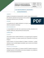 Manual de Abastecimiento, Recepción y Almacenamiento de Materia Prima