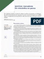 Troponina marcador de lesiones miocárdicas en Perros