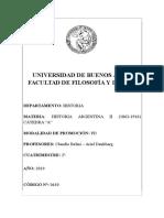 Historia Argentina II (1862-1916) a (Belini-Denkberg) - 2c 2019