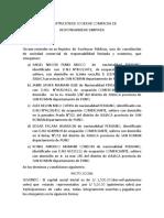 Constitución de Sociedad Comercial De