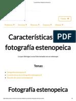 Características Fotografía Estenopeica