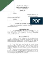 Joan Cruz v Royal Supermart Plaintiff Position Paper