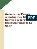 Awareness of Parents Regarding Their Children Nutrition In