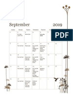 monthly calendar - fall 2019