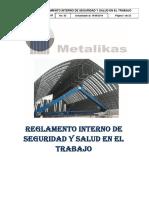 M.03 Reglamento Interno de Seguridad y Salud en El Trabajo METALIKAS