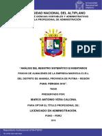 """""""ANÁLISIS DELREGISTRO SISTEMÁTICO E INVENTARIOS FISICOSDE ALMACENES DE LAEMPRESAMARVECAE.I.R.LDELDISTRITO DEANANEA,PROVINCIADE PUTINA–REGIÓNPUNO.PERIODO2016""""."""