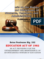 Legal Basis of the Rights of the Students, Teachers and Admnistrators