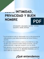 Sobre Intimidad, Privacidad y Buen Nombre
