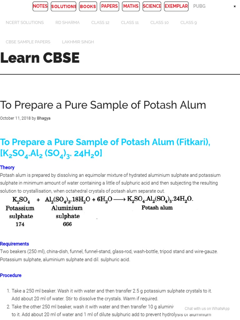 To Prepare a Pure Sample of Potash Alum - Chemistry Practical Class 12 - Learn  CBSE | Sulfuric Acid | Crystallization