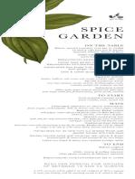 Spice Garden Summer Menu
