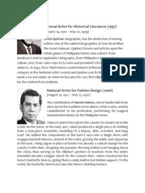 National Artist For Historical Literature 1997 Carlos Quirino Biographer Has The Distinction Of Having Philippines Softlines Retail