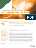 La educación como bien público y común: