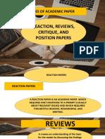 EAPP LP4 Reaction Reviews Critique Position Papers