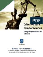 Criterios Para Colaboraciones Revista Foro Autonomo 2018