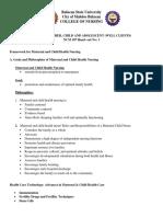 Framework for Maternal and Child Health Nursing