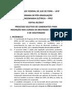 Edital para mestrado e doutorado UFJF 2017