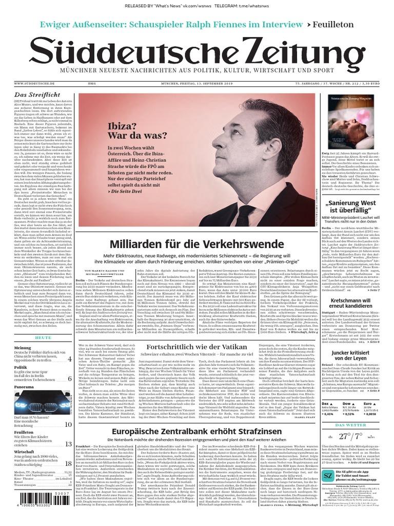 Süddeutsche Zeitung 2019.09.13