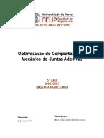 optimização de comportamento mecanico de juntas adesivas