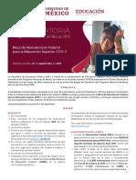 CONVOCATORIA Beca Manutencion Federal 2019 II