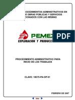 Procedimiento administrativo para inicio de los trabajos PEMEX PEP