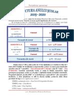 Structura an Scolar Calendar 2019 2020