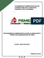 Procedimiento administrativo para elaboracion y tramite de generadores de obra